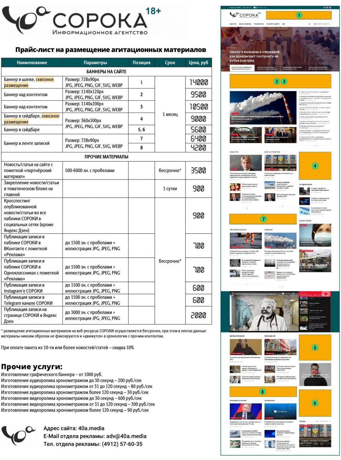 Расценки на услуги по размещению агитационных материалов в ресурсах издания, а также изготовлению аудиовизуальной агитационной продукции